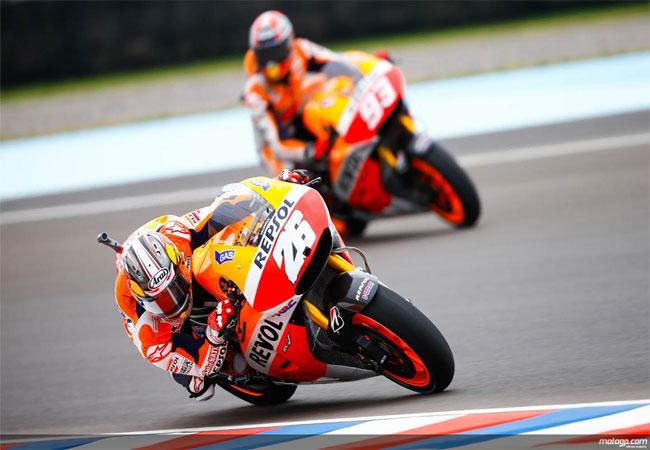Márquez acelera a fondo en la primera jornada del MotoGP en Argentina