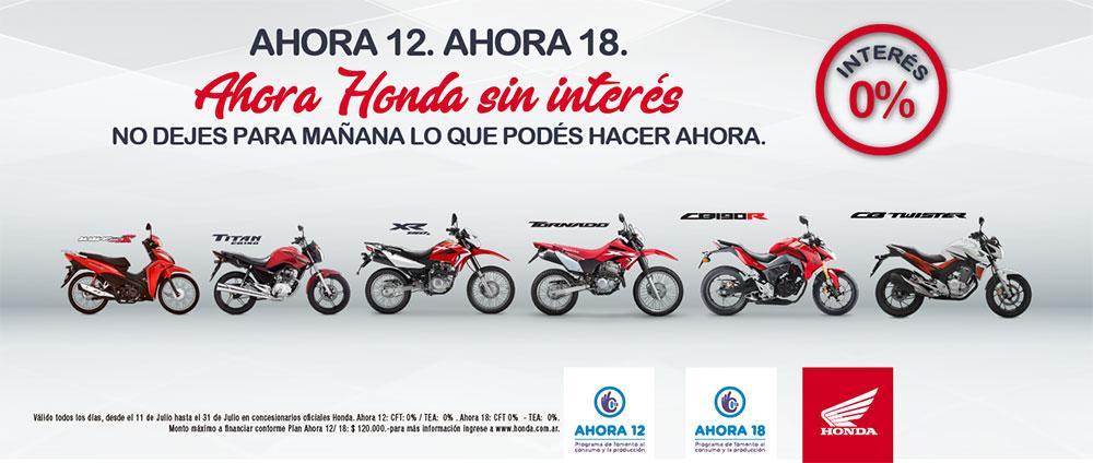 Honda ofrece planes Ahora 12 y Ahora 18 para la compra de motos