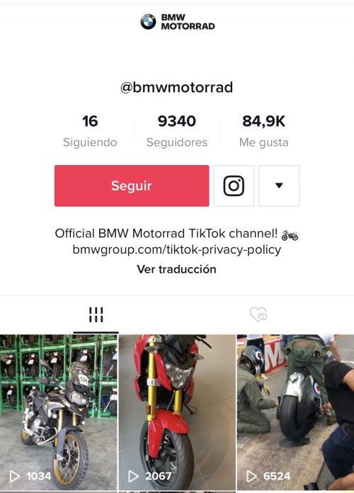BMW Motorrad ahora disponible en la plataforma TikTok
