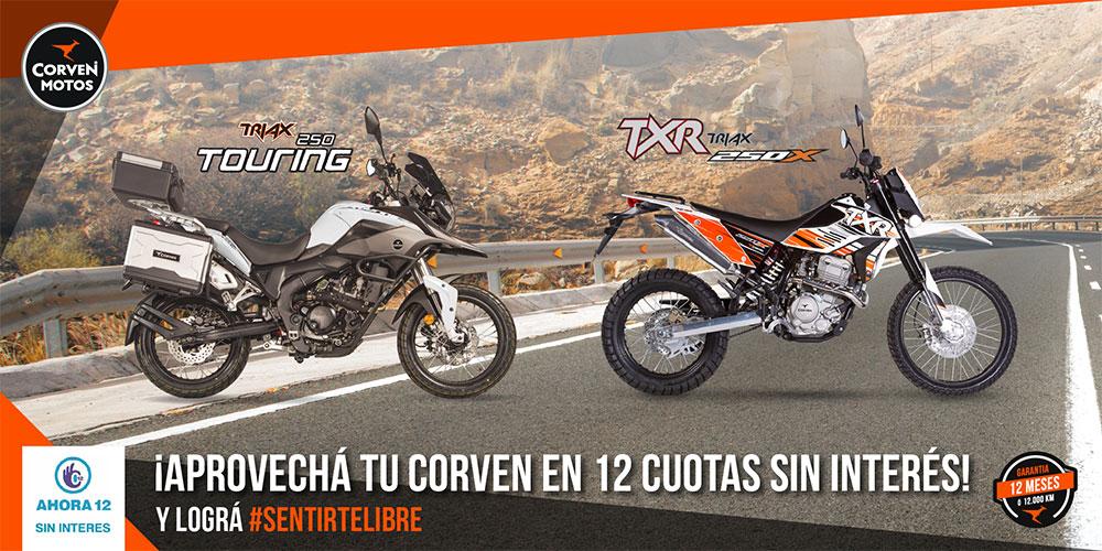 Las Corven TXR 250X y Triax Touring 250 en 12 cuotas sin interés
