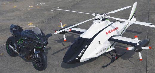Kawasaki probó un helicóptero que utiliza el motor de la Ninja H2R